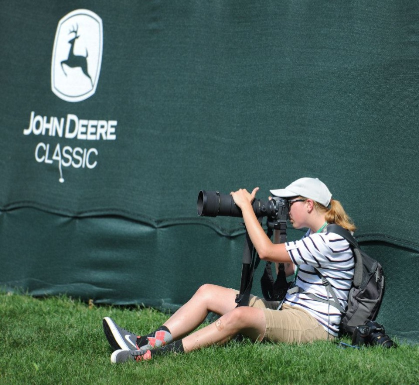 Summer 2014 Dispatch/Argus Intern Leah Klafczynski at the 18th green during the John Deere Classic.