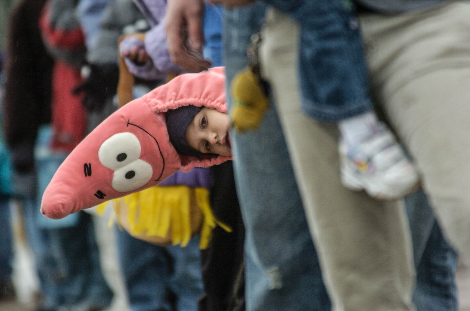 Sebastien Cortez, 5 of Moline, sports a Patrick the Starfish costume, a character from the cartoon SpongeBob SquarePants, as he peeks around the crowd gathered along Avenue of the Cities Sunday afternoon for the Moline Council of Associated Dad's Clubs 48th annual Halloween parade. (Todd Mizener - Dispatch/Argus)