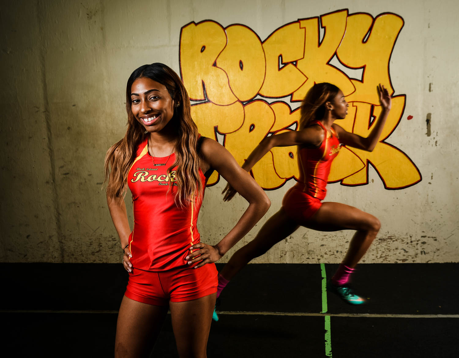 Rock Island sprinter Mykedra Craig is this week's Dispatch-Argus-QCOnline Metro Pacesetter. Craig won four events at the Gene Shipley Invitational on Saturday — the 100 and 200 individual events and also anchored the winning 4x100 and 4x200 relays. (Todd Mizener - Dispatch/Argus)