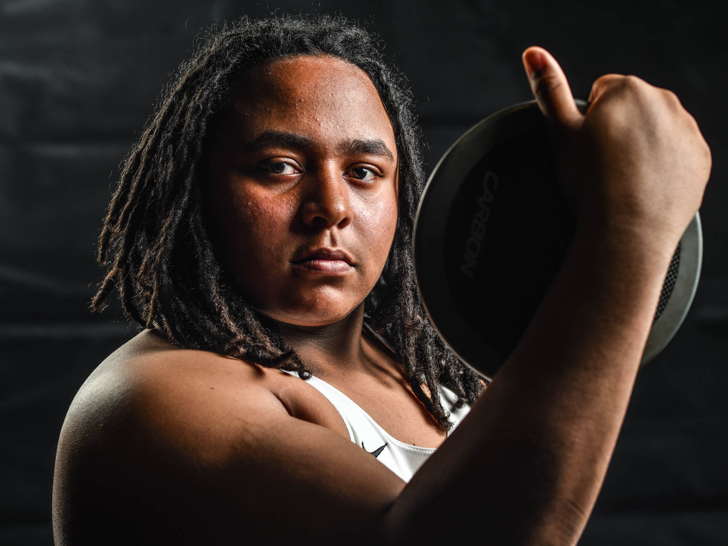 United Township High School thrower Xavier Wickersham poses for this week's Pacesetter portrait. The senior won both the shot and discus at the recent Galesburg Invitational.  (Todd Mizener - Dispatch/Argus)